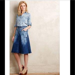 Pilcro Distressed Denim Midi Skirt